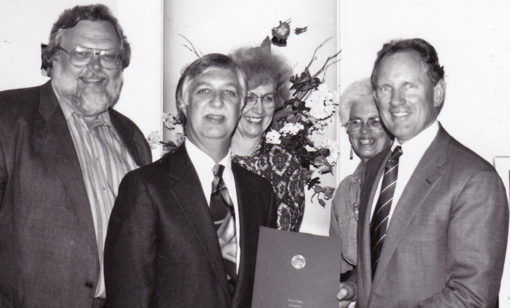 1994 Award from Governor's Office. Left to right: Rob Edwards, Jerry Dudley, Hedy Schmidt, Charr Smith, and Bruce McPherson